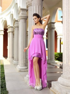 A-Line/Princess Sleeveless Strapless Chiffon Beading Asymmetrical Dresses