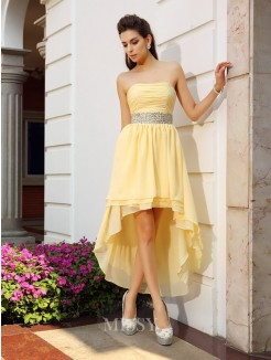 A-Line/Princess Sleeveless Chiffon Strapless Asymmetrical Beading Dresses