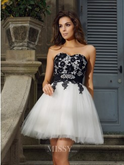 A-Line/Princess Sleeveless Sweetheart Tulle Applique Short/Mini Dress