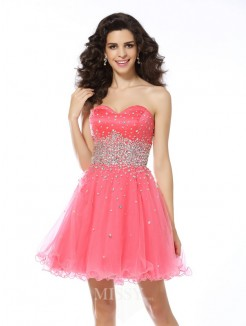 A-Line/Princess Sleeveless Beading Sweetheart Organza Short/Mini Dress
