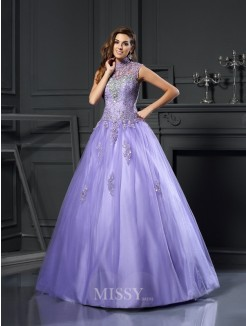 Ball Gown Sleeveless High Neck Net Beading Floor-Length Applique Dresses