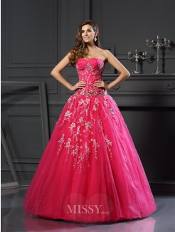 Ball Gown Sleeveless Sweetheart Net Floor-Length Applique Dresses