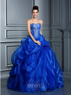 Ball Gown Sleeveless Sweetheart Applique Floor-Length Satin Quinceanera Dresses