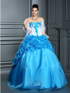 Ball Gown Sleeveless Sweetheart Ruffles Floor-Length Satin Quinceanera Dresses