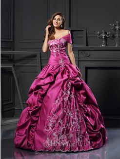 Ball Gown Sweetheart Satin Sleeveless Applique Floor-Length Dresses