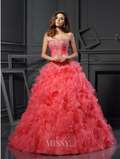 Ball Gown Sleeveless Organza Ruffles Sweetheart Floor-Length Dresses