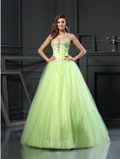 Ball Gown Sleeveless Halter Satin Floor-Length Beading Dresses
