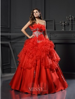 Ball Gown Strapless Sleeveless Organza Floor-Length Ruffles Dresses