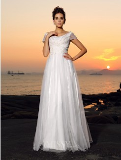 A-Line/Princess Short Sleeves Off-the-Shoulder Beading Tulle Floor-Length Wedding Dresses