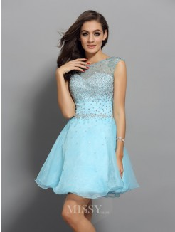 Scoop A-Line/Princess Sleeveless Organza Short/Mini Beading Dresses