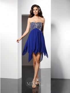 A-Line/Princess Sleeveless Sweetheart Beading Short/Mini Chiffon Dress