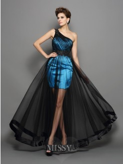 A-Line/Princess One-Shoulder Elastic Woven Satin Floor-Length Ruched Dresses
