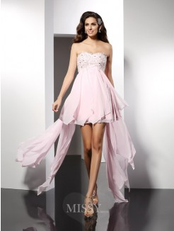 A-Line/Princess Sleeveless Sweetheart Applique Asymmetrical Chiffon Dress