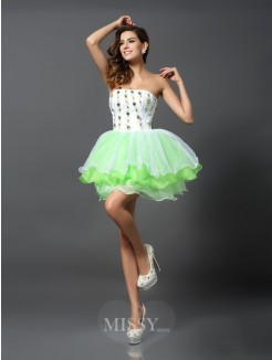 A-Line/Princess Strapless Sleeveless Ruffles Short/Mini Organza Dresses
