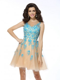 A-Line/Princess Sleeveless Tulle Bateau Applique Short/Mini Dress