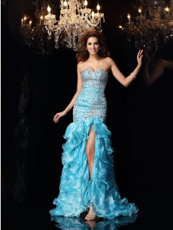 Trumpet/Mermaid Sleeveless Sweetheart Organza Beading Asymmetrical Dresses