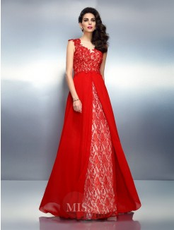 A-Line/Princess Bateau Sleeveless Applique Sweep/Brush Train Net Dresses