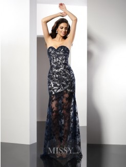 Sheath/Column Sleeveless Sweetheart Floor-Length Lace Satin Dresses