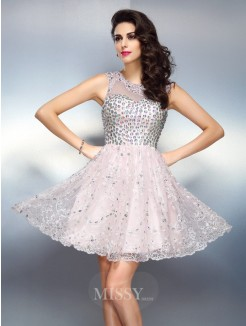 A-Line/Princess Bateau Sleeveless Beading Applique Short/Mini Satin Dresses