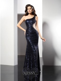 Sheath/Column One-Shoulder Sequin Sleeveless Floor-Length Sequins Dresses