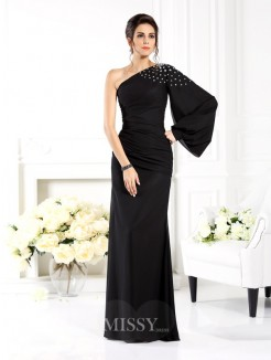 Sheath/Column One-Shoulder Long Sleeves Beading Floor-Length Chiffon Dress