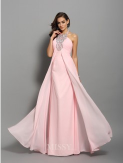 Sheath/Column Sleeveless Chiffon Floor-Length High Neck Beading Dresses