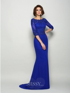 Trumpet/Mermaid Scoop 3/4 Sleeves Chiffon Beading Sweep/Brush Train Mother of the Bride Dress