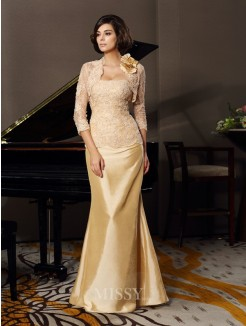 Trumpet/Mermaid Sleeveless Sweetheart Floor-Length Taffeta Lace Mother of the Bride Dress