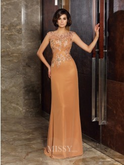Sheath/Column Sleeveless Scoop Chiffon Beading Applique Sweep/Brush Train Mother of the Bride Dress