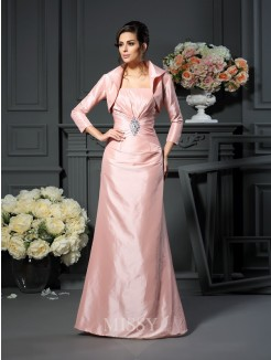 A-Line/Princess Strapless Pleats Sleeveless Floor-Length Taffeta Mother of the Bride Dress