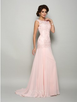 Trumpet/Mermaid Sleeveless Scoop Sweep/Brush Train Chiffon Beading Mother of the Bride Dress