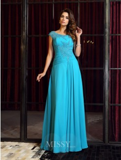 A-Line/Princess Sleeveless Scoop Applique Chiffon Floor-Length Dresses