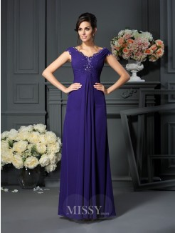 A-Line/Princess V-neck Beading Sleeveless Floor-Length Chiffon Mother of the Bride Dress