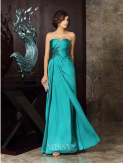 Sheath/Column Sleeveless Chiffon Sweetheart Beading Applique Floor-Length Mother of the Bride Dress