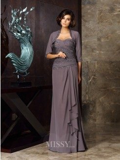 Sheath/Column Sleeveless Chiffon Sweetheart Floor-Length Beading Applique Mother of the Bride Dress
