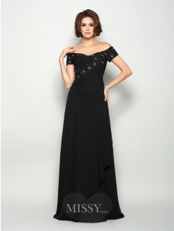 A-Line/Princess Off-the-Shoulder Short Sleeves Chiffon Sweep/Brush Train Beading Mother of the Bride Dress