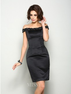 Sheath/Column Sleeveless Off-the-Shoulder Satin Knee-Length Beading Mother of the Bride Dress