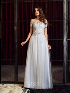 A-Line/Princess Short Sleeves Net Off-the-Shoulder Beading Applique Floor-Length Dresses