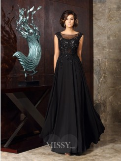 A-Line/Princess Sleeveless Scoop Chiffon Applique Floor-Length Mother of the Bride Dress