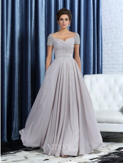 A-Line/Princess Sweetheart Short Sleeves Beading Ankle-Length Chiffon Mother of the Bride Dress