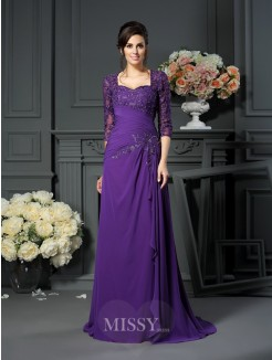 A-Line/Princess Sweetheart 1/2 Sleeves Floor-Length Applique Chiffon Mother of the Bride Dress