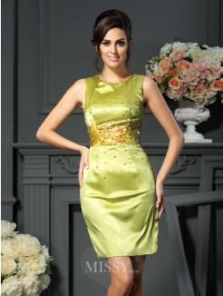 Sheath/Column Scoop Beading Sleeveless Short/Mini Silk like Satin Mother of the Bride Dress