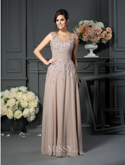 A-Line/Princess Scoop Beading Sleeveless Floor-Length Silk like Satin Mother of the Bride Dress