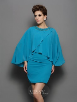 Sheath/Column Scoop Long Sleeves Silk like Satin Beading Short/Mini Dress