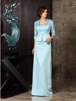 Sheath/Column Sleeveless Satin Floor-Length Strapless Mother of the Bride Dress