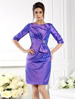 Sheath/Column Bateau 1/2 Sleeves Knee-Length Taffeta Mother of the Bride Dress