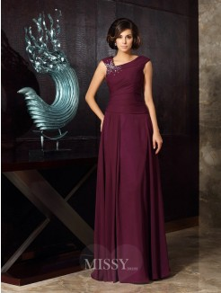 A-Line/Princess Sleeveless Chiffon Floor-Length Beading Mother of the Bride Dress