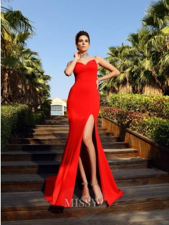 Sheath/Column Sleeveless Beading High Neck Court Train Spandex Dresses