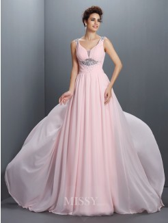 A-Line/Princess Straps Sleeveless Beading Sweep/Brush Train Chiffon Dress