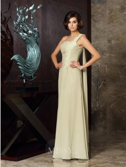A-Line/Princess Sleeveless One-Shoulder Floor-Length Chiffon Applique Dresses